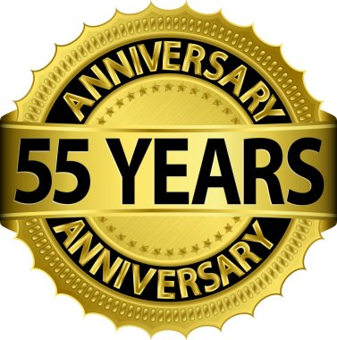 55 years anniversary goldhn label with ribbon, vector illustration