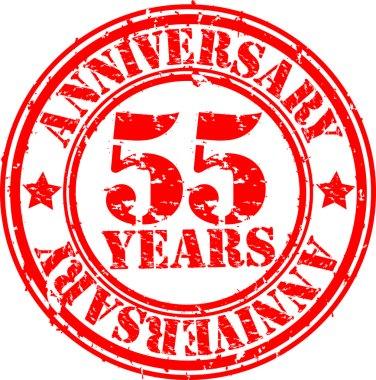 Grunge 55 years happy birthday rubber stamp illustration