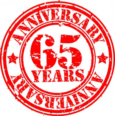 Grunge 65 years happy birthday rubber stamp illustration