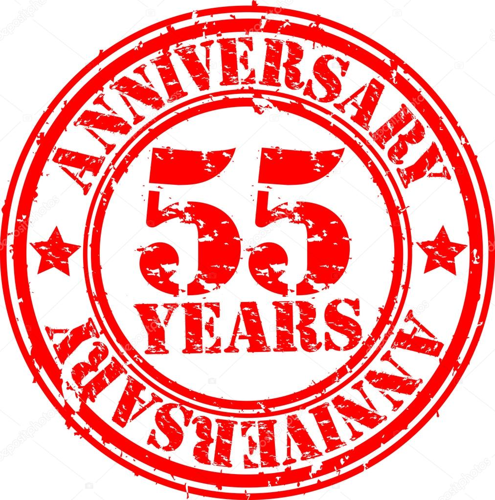 Grunge 55 Years Happy Birthday Rubber Stamp Illustration Stock Photo