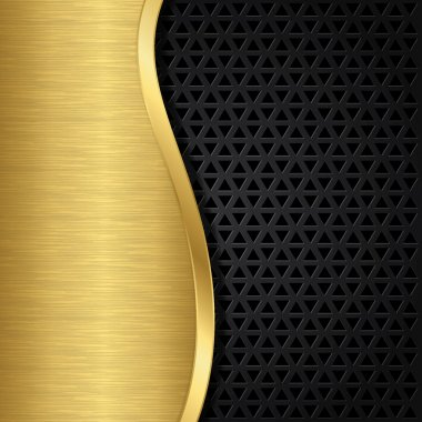 Abstract golden background with metallic speaker grill, vector illustration stock vector