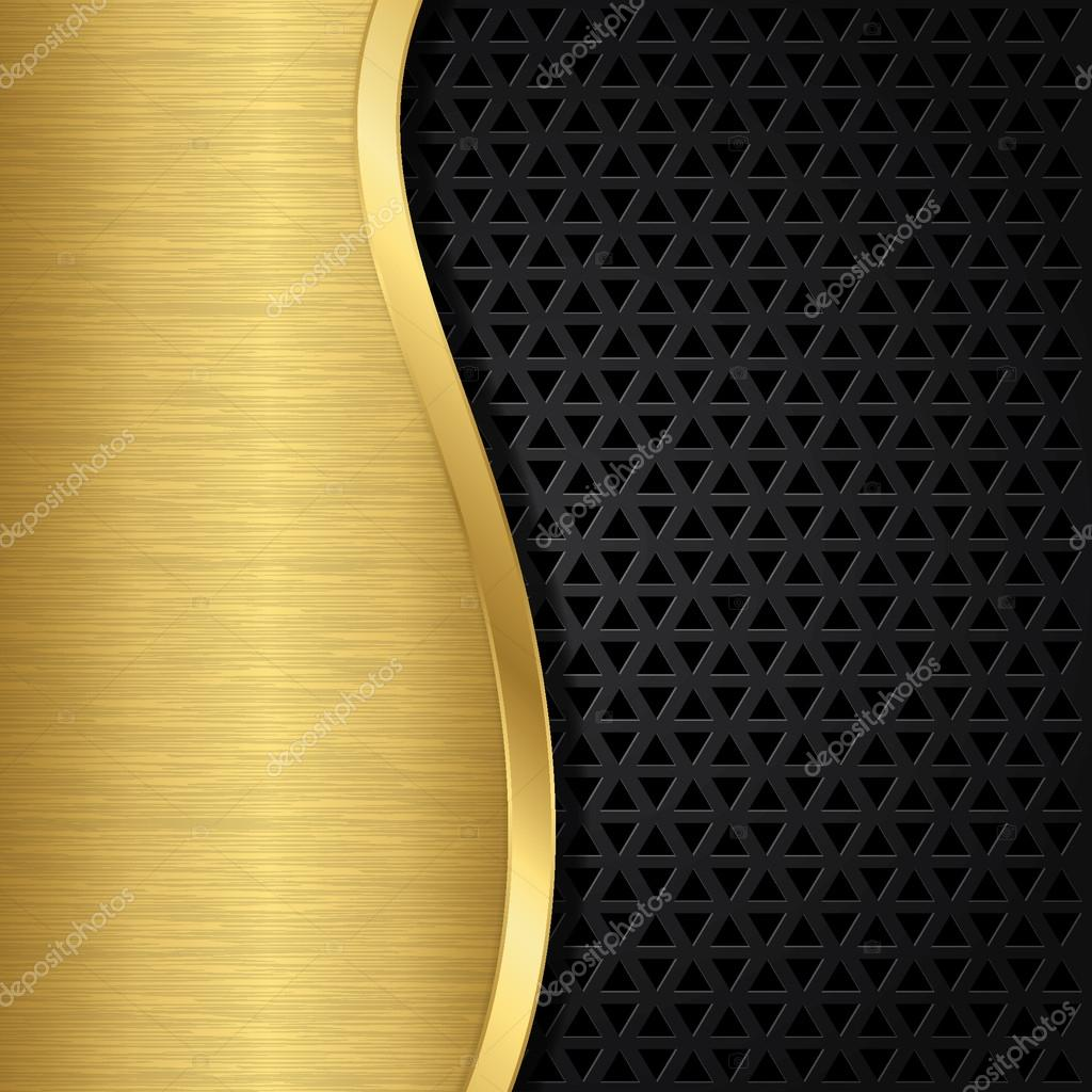 Abstract golden background with metallic speaker grill, vector illustration