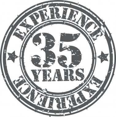 Grunge 35 years of experience rubber stamp, vector illustration