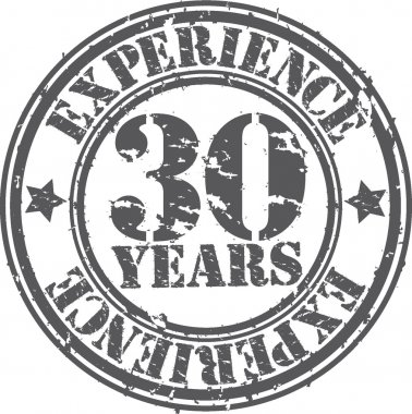 Grunge 30 years of experience rubber stamp, vector illustration