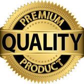 prémiové kvality produktu zlatý štítek, vektorové ilustrace