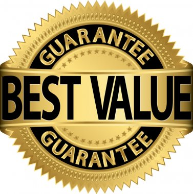 Best value guarantee golden label, vector illustration