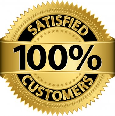 100 percent satisfied customers golden label, vector illustration