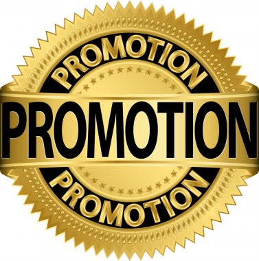 Promotion golden label, vector illustration