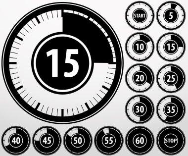 Analog timer icons set, vector illustration