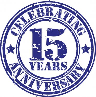 Celebrating 15 years anniversary grunge rubber stamp, vector illustration