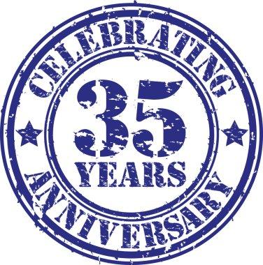 Celebrating 35 years anniversary grunge rubber stamp, vector illustration