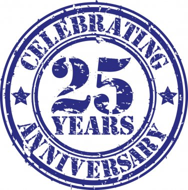 Celebrating 25 years anniversary grunge rubber stamp, vector illustration