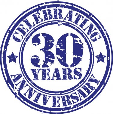 Celebrating 30 years anniversary grunge rubber stamp, vector illustration