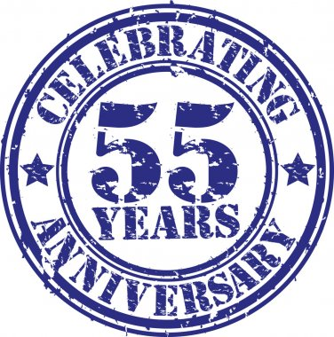 Celebrating 55 years anniversary grunge rubber stamp, vector illustration