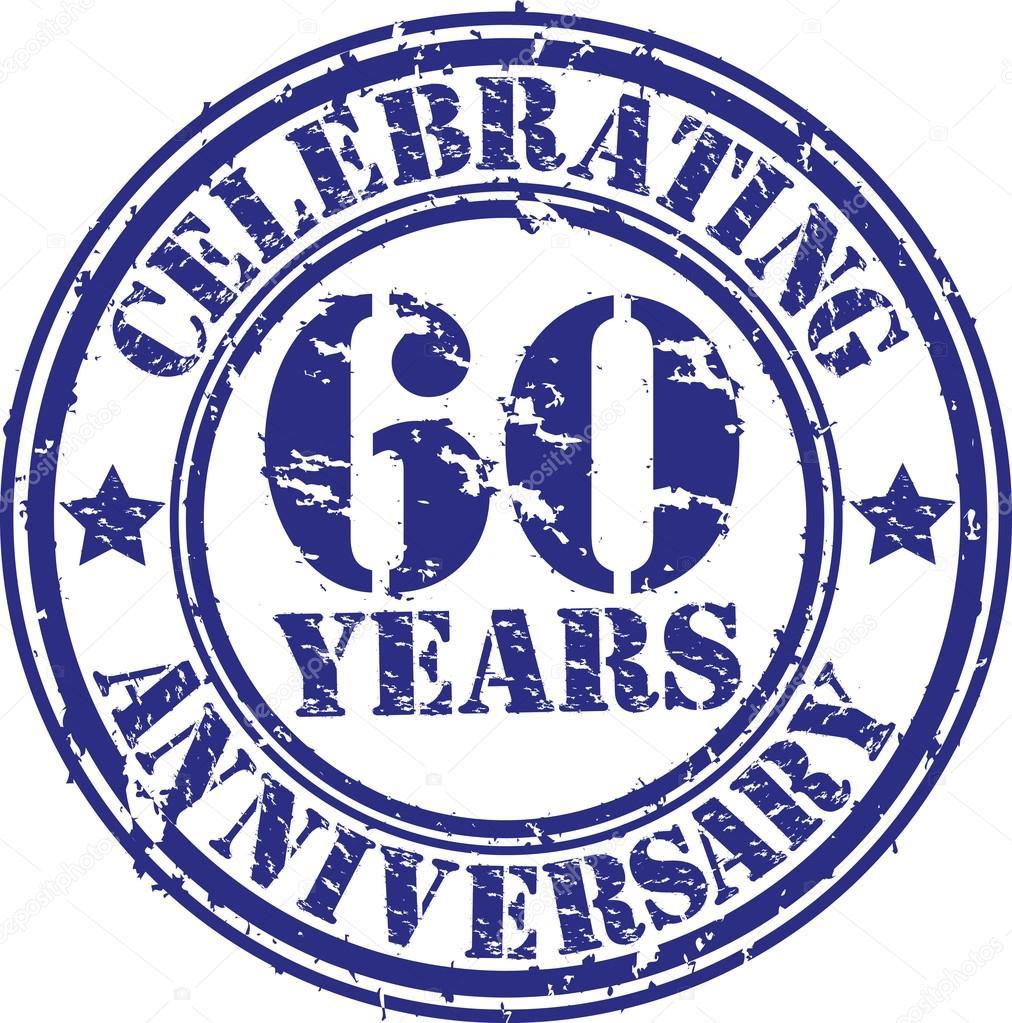 Vieren 60 Jaar Verjaardag Grunge Rubberstempel Vectorillustratie