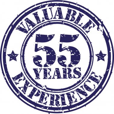 Valuable 55 years of experience rubber stamp, vector illustration