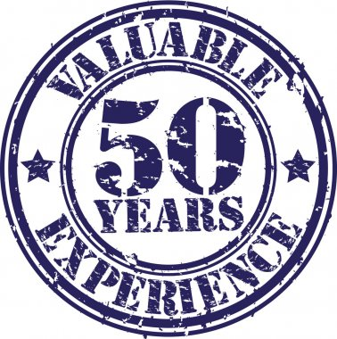 Valuable 50 years of experience rubber stamp, vector illustration