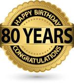 Fotografie Alles Gute zum Geburtstag 80 Jahre gold Label, Vektor-illustration