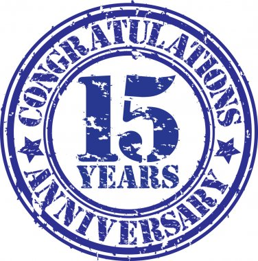 Congratulations 15 years anniversary grunge rubber stamp, vector