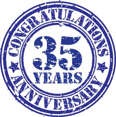 Congratulations 35 years anniversary grunge rubber stamp, vector