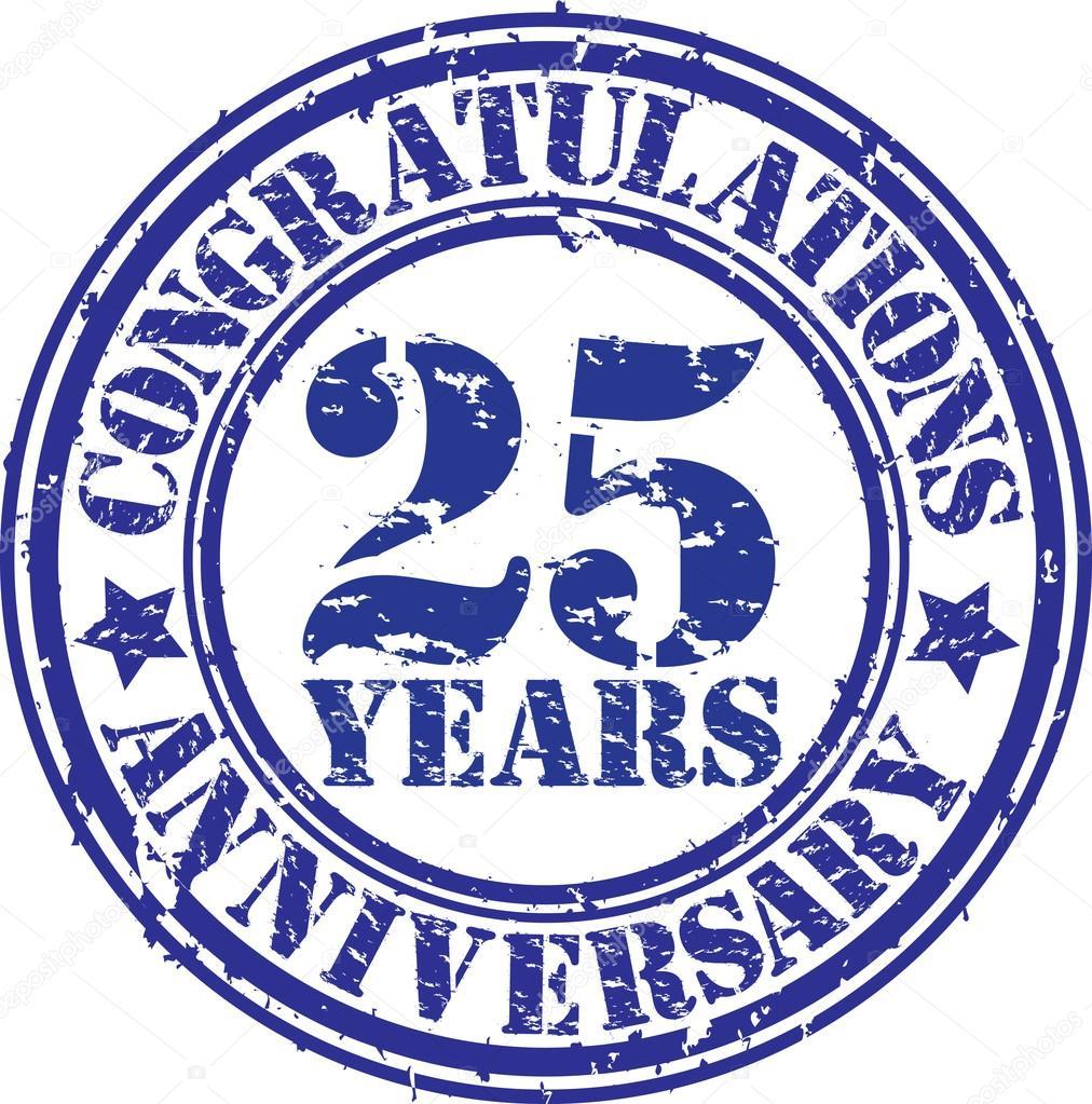 Gefeliciteerd 25 Jaar Verjaardag Grunge Rubberstempel Vector