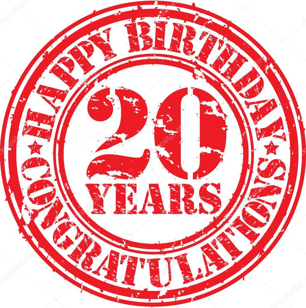 Gelukkige Verjaardag 20 Jaar Grunge Rubberstempel Vectorillustratie