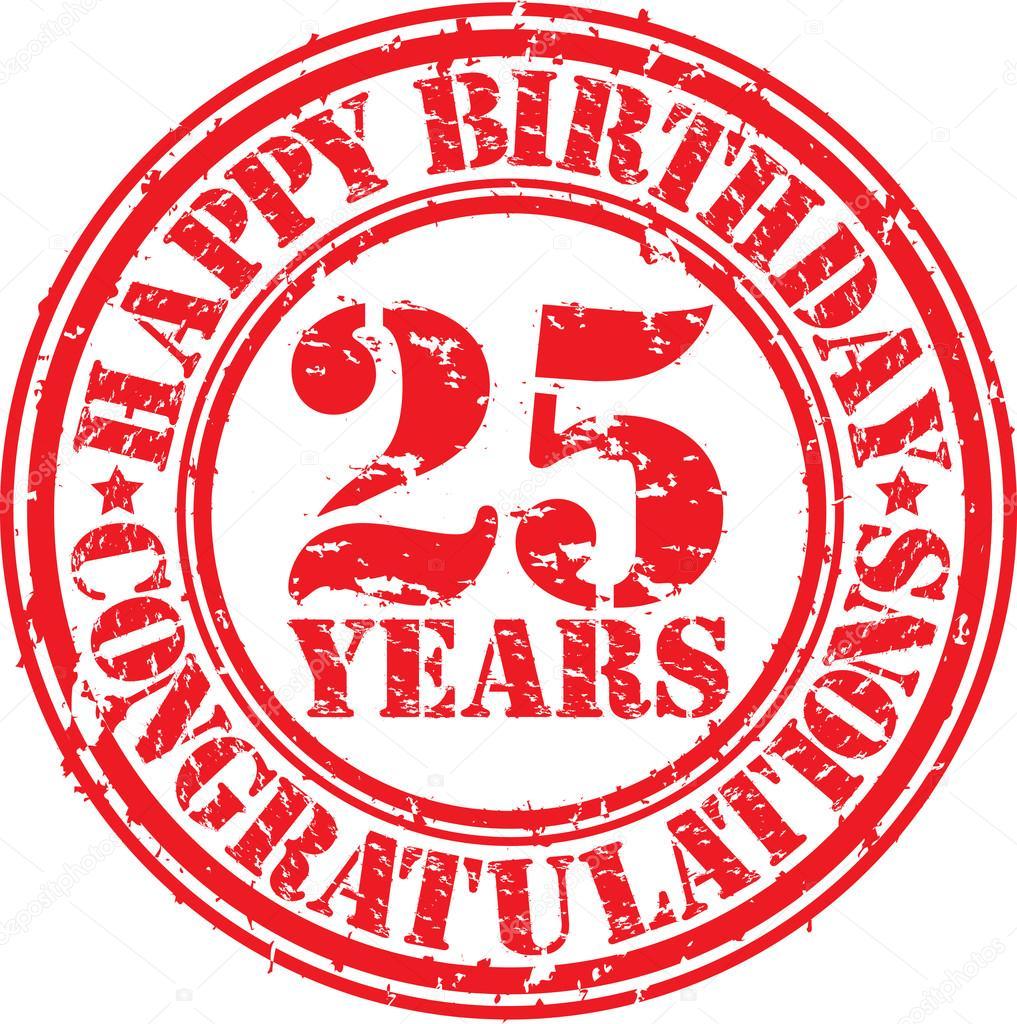 Gelukkige Verjaardag 25 Jaar Grunge Rubberstempel Vectorillustratie