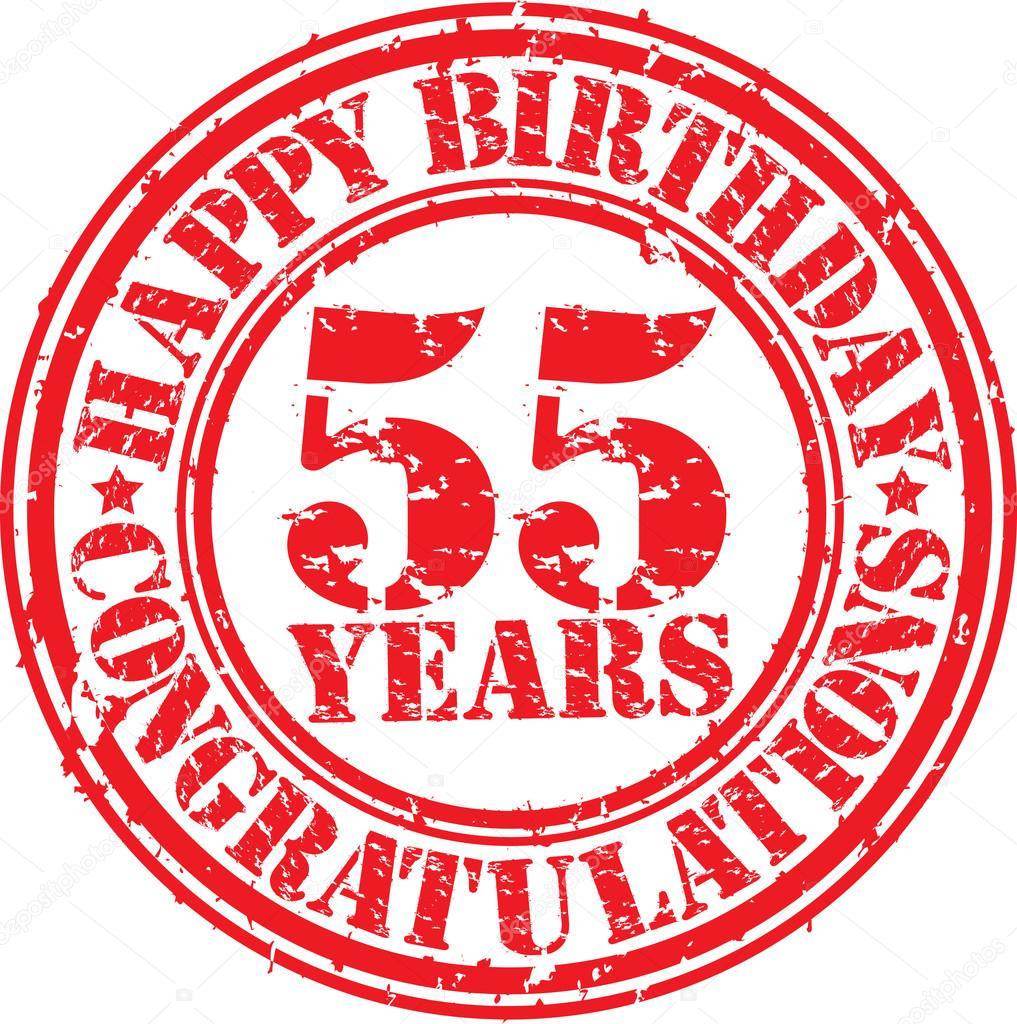 Gelukkige Verjaardag 55 Jaar Grunge Rubberstempel Vectorillustratie