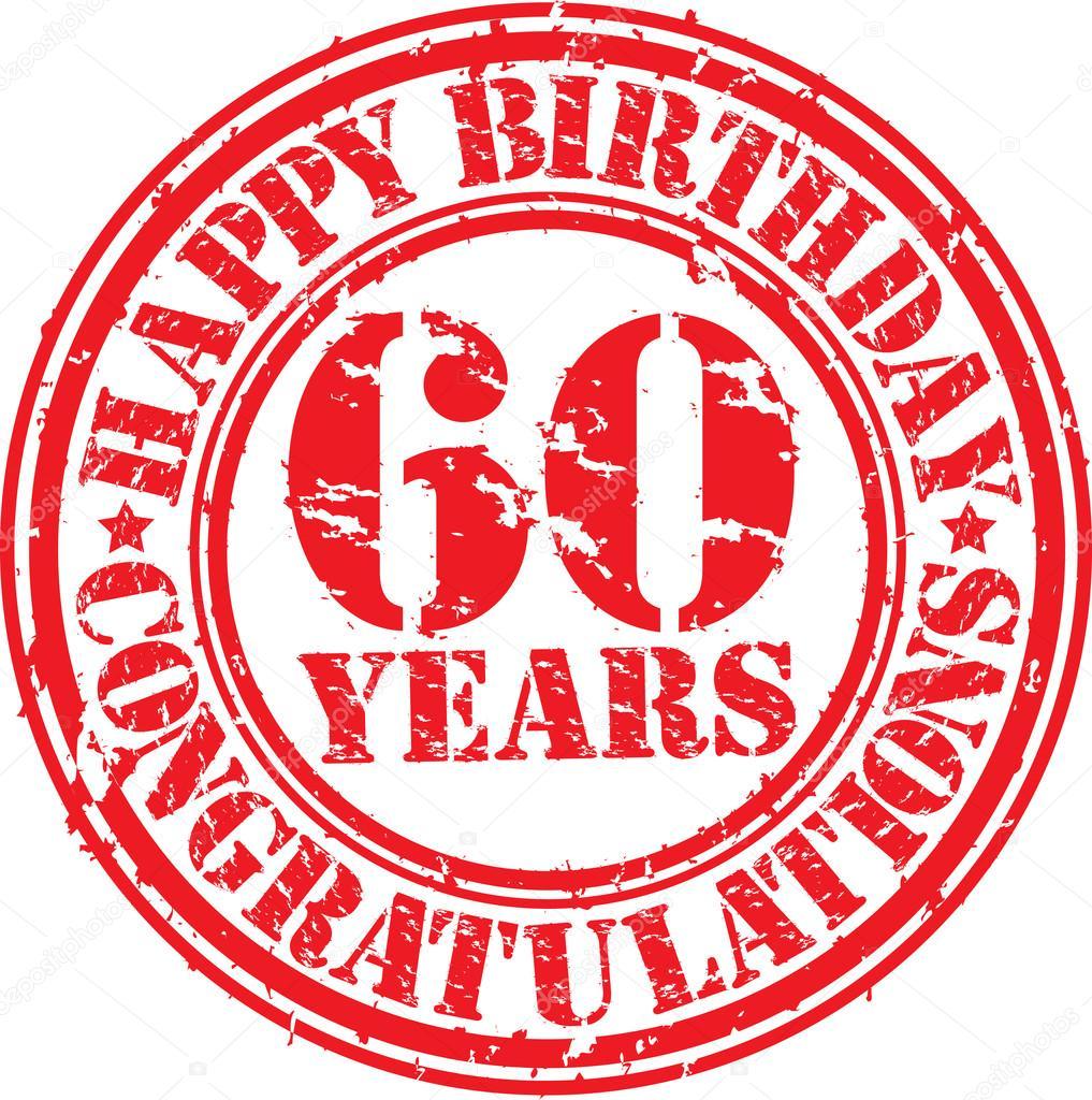60 år grattis Grattis 60 år grunge gummistämpel, vektor illustration — Stock  60 år grattis