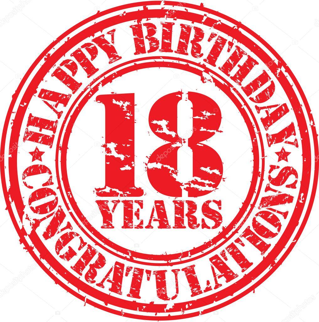 Favoriete Gelukkige verjaardag 18 jaar grunge rubberstempel &ME89