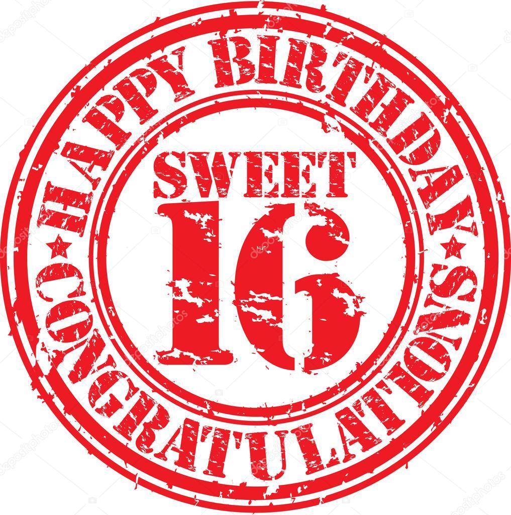 Gelukkige Verjaardag Sweet 16 Grunge Rubberstempel