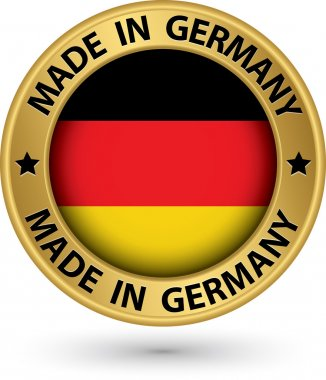 Made in Germany gold label, vector illustration