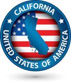 Kalifornie státní modrý štítek se mapu státu, vektorové ilustrace