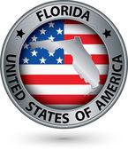 Florida státu stříbrný štítek s mapu státu, vektorové ilustrace
