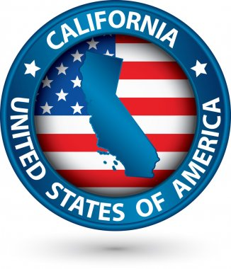 California state blue label with state map, vector illustration