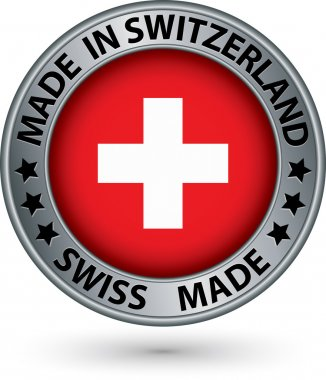 Made in Switzerland silver label with flag, vector illustration