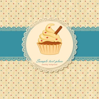 Vintage background with lace and cupcake stock vector