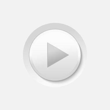 Vector White Play Media Button stock vector