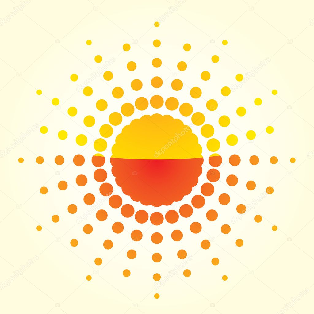 Artistic orange sun