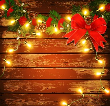 Vector Christmas background with garland on a wooden wall