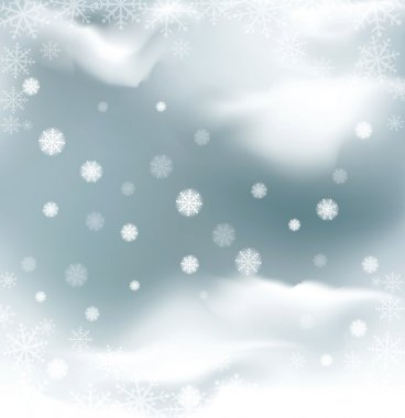 vector background with flying snow flakes