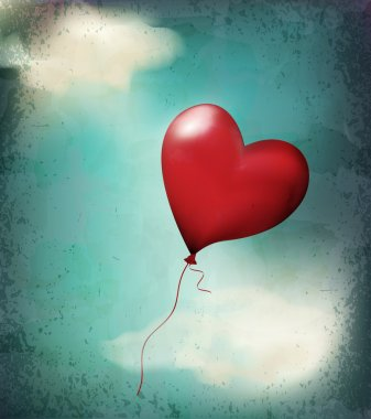 Vector retro card( balloon-hearts flying in the sky) clip art vector
