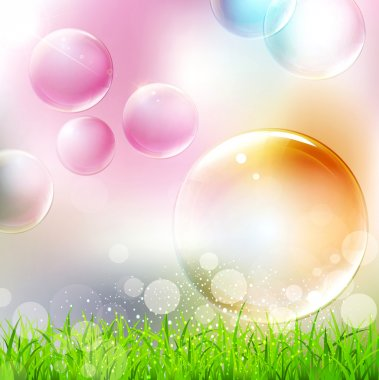 vector background with flying colorful bubbles