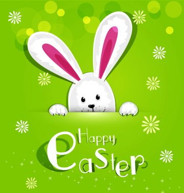 Vector Easter bunny looking out a green background
