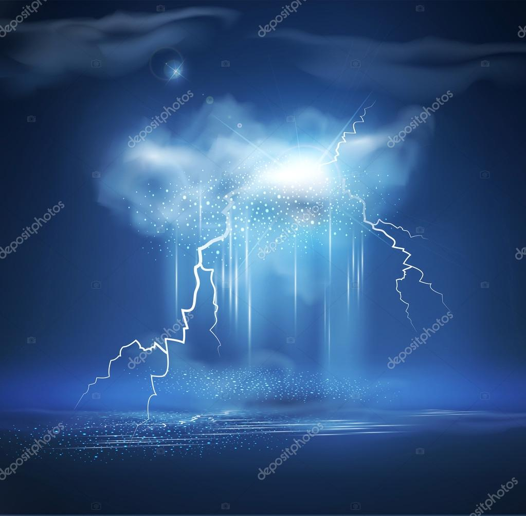 Vector night sea landscape with thunderstorm