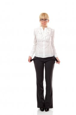 business woman showing empty pockets isolated on white