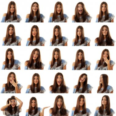teen girl attractive set make faces isolated on white