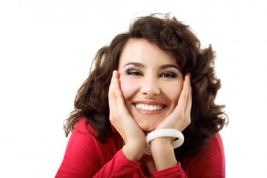 beautiful young happy smiling woman with hands near her face