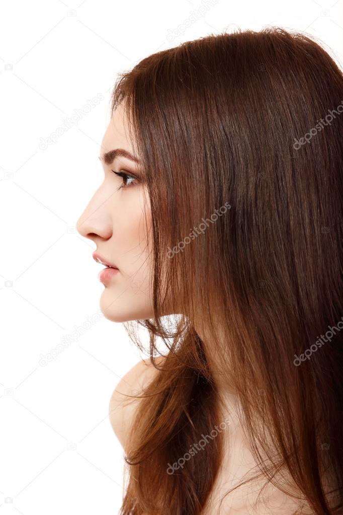 ritratto di un viso giovane e bella donna di profilo foto di khorzhevska