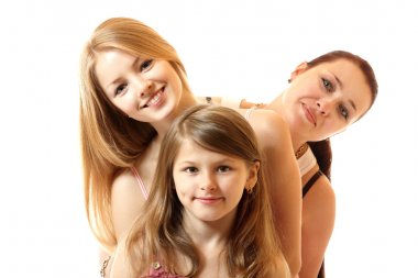 happy mother with two daughters